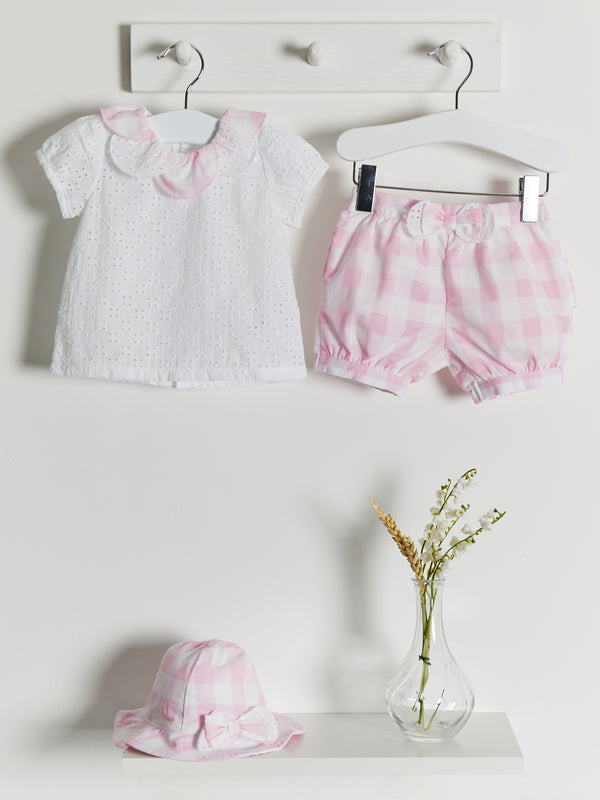 PRE ORDER Mintini gingham & broiderie anglais 3 piece set - Rose & Albert