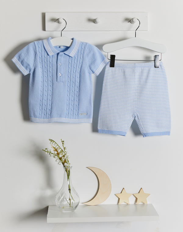 Blues Baby stripe cable knit polo set - Rose & Albert