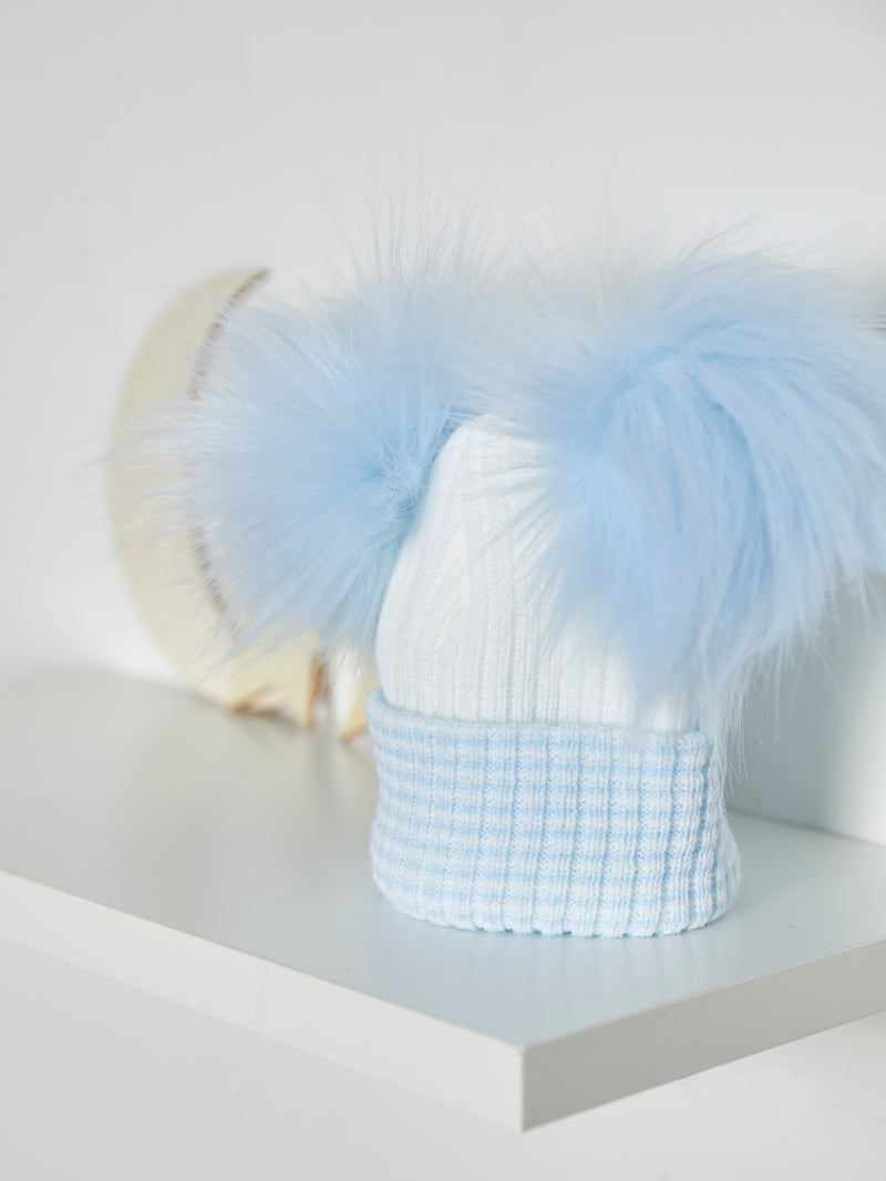 Double Faux Fur Pom Pom Hat - Rose & Albert