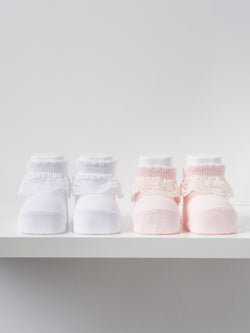 Carlomagno lace frill newborn socks - Rose & Albert