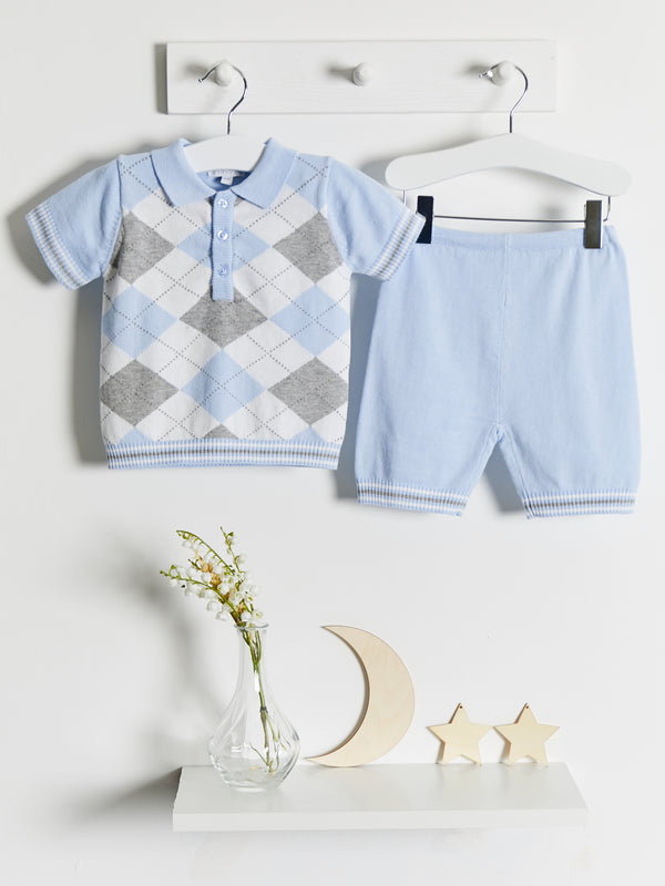 Blues Baby Argyle polo Knitted short set - Rose & Albert