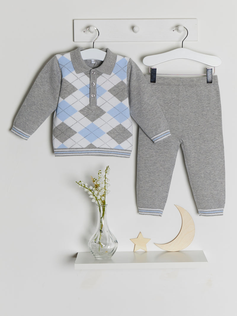 Blues Baby Argyle polo knitted set - grey - Rose & Albert