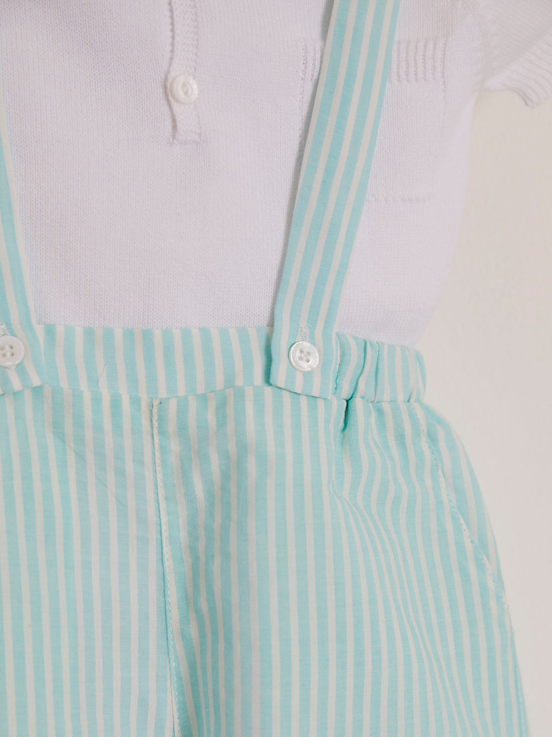 Wedoble stripe dungaree & polo top - Rose & Albert