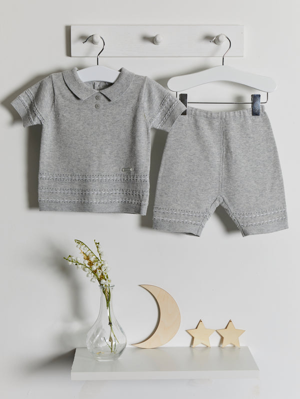 Blues Baby Knitted Polo Collar set - Rose & Albert