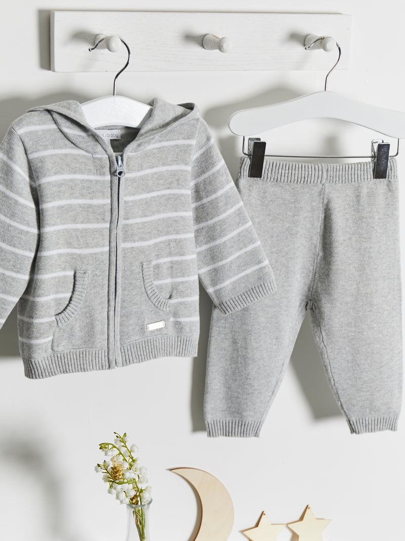 Blues Baby knitted hooded 2 piece set - Rose & Albert