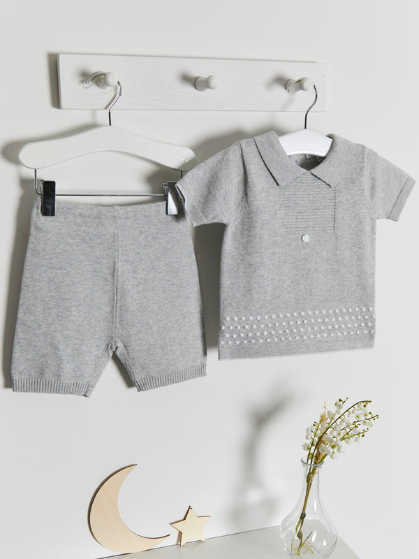 Blues Baby Knitted Polo 2 piece set - Rose & Albert