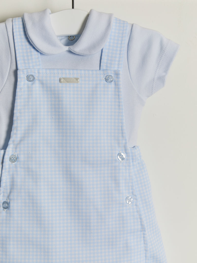 Blues Baby gingham dungaree & tee set - Rose & Albert