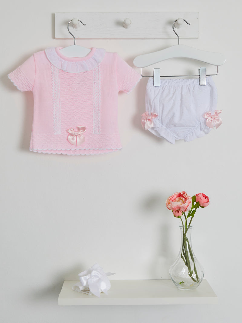 Blues Baby knitted top & bloomer set - Rose & Albert