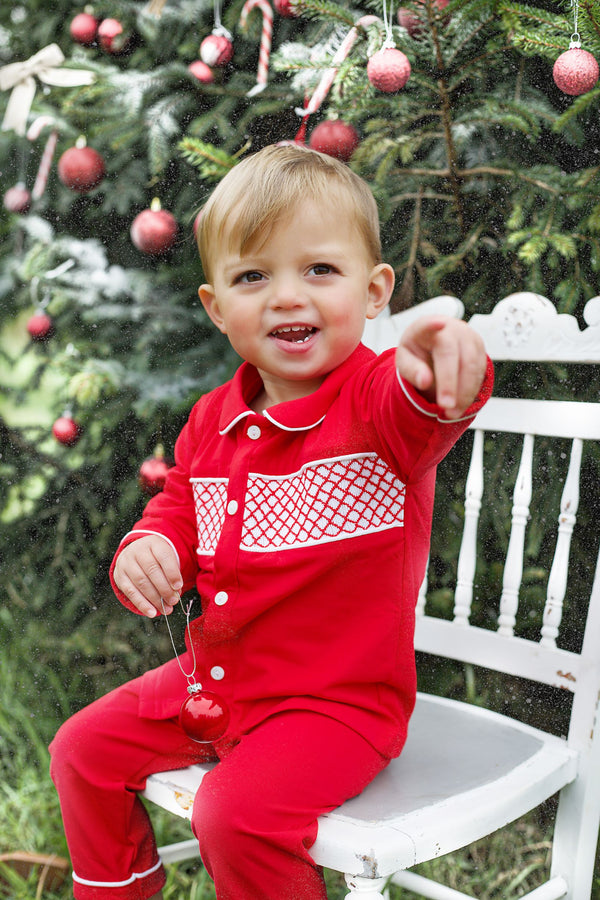 Clark and Beau Exclusive Boys Christmas smocked pyjamas