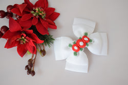 Bloom & Bow Christmas Embroidered Bow - white & red - Pre Order