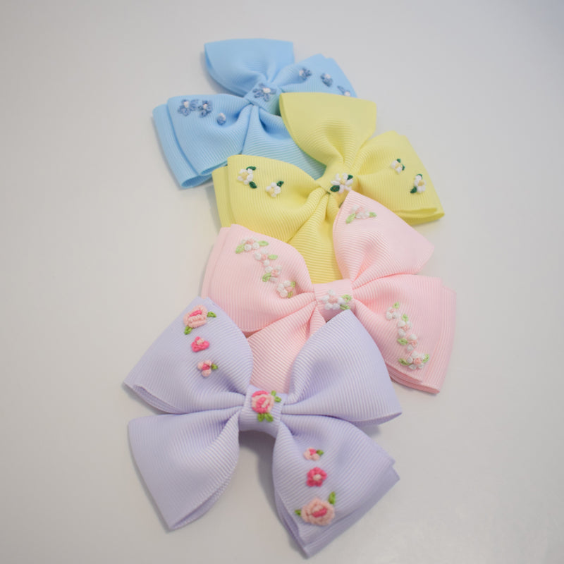 The Little Bow Emporium embroidered hair bow - blue - Rose & Albert
