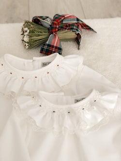 Fofettes smocked blouse with lace
