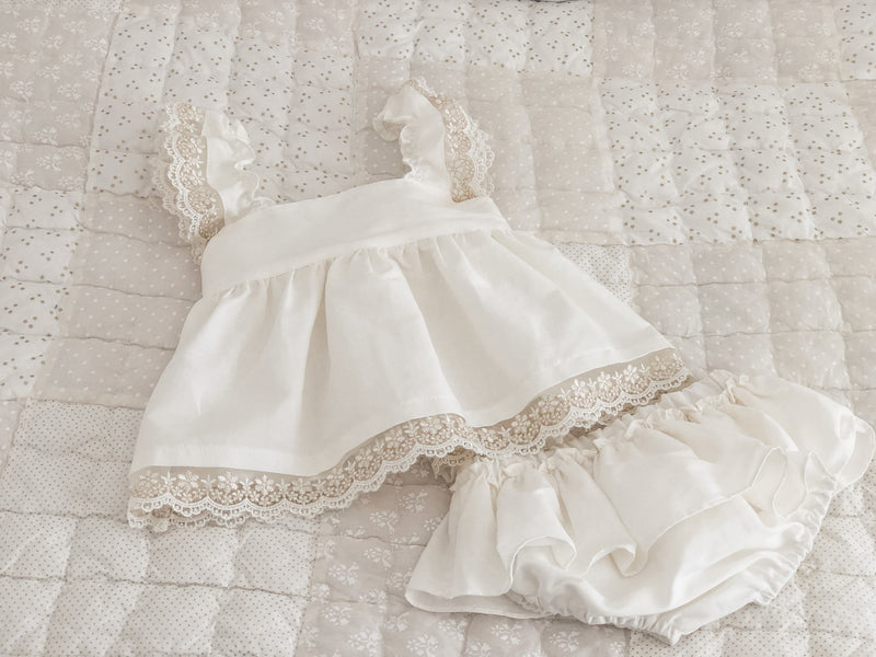 SS21 Fofettes Premium Ivory Dress with matching bloomers