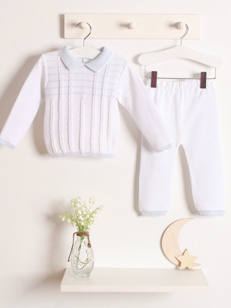 Pex polo collar knitted 2 piece set