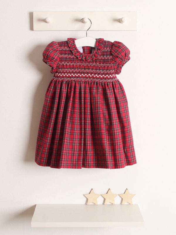 Rose and Albert classic hand smocked tartan dress