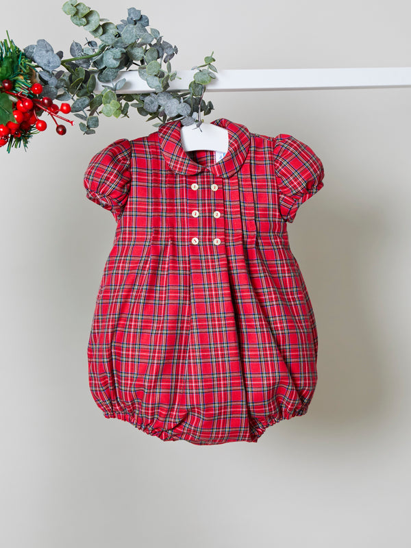 Rose and Albert handmade tartan romper - pre order