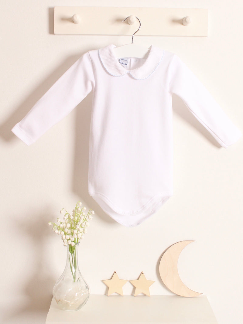 Babidu long sleeved peter pan collar vest - blue - Rose & Albert