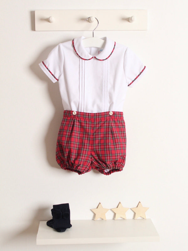Rose and Albert handmade boys tartan jam pant set