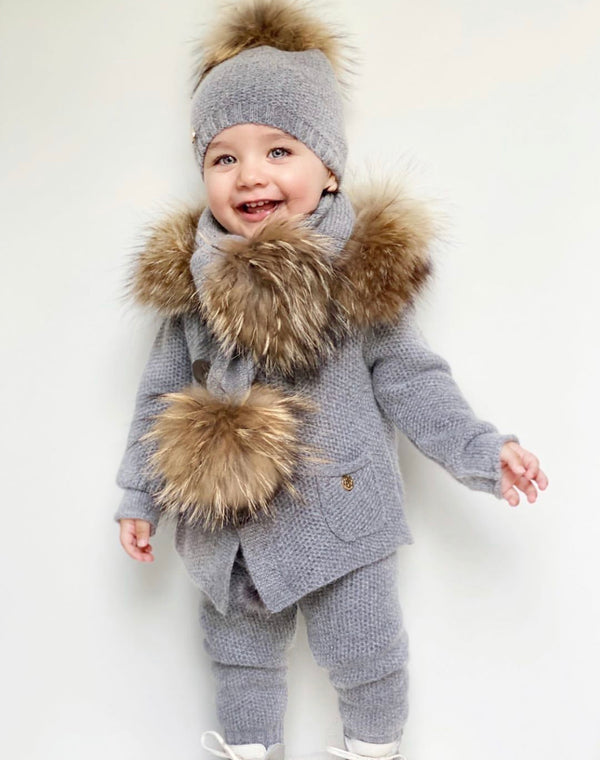 Petit Maison Kids Cashmere Pram Coat with Natural Trim