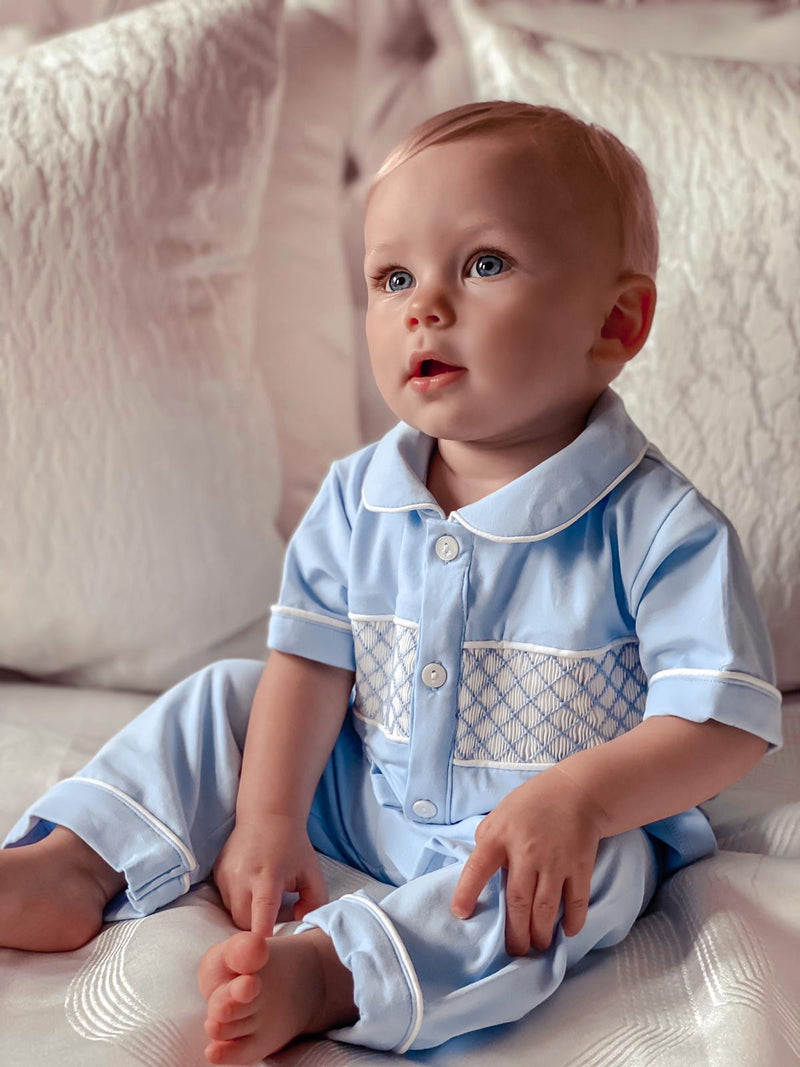 Clark and Beau Exclusive smocked pyjamas - Rose & Albert