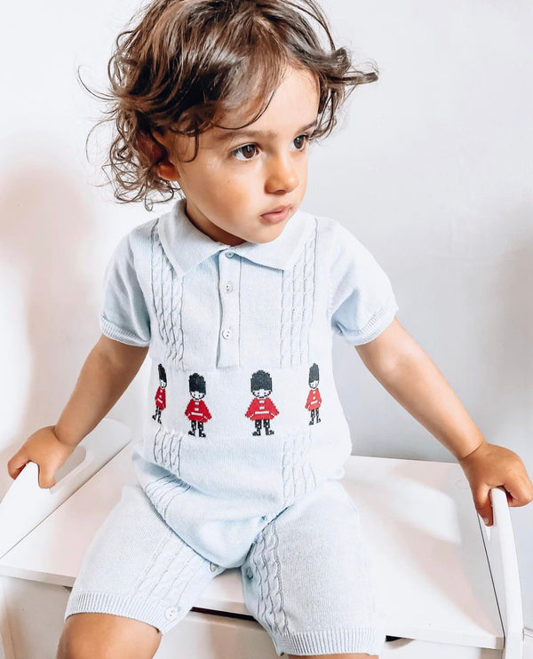 SS21 Caramelo Kids Knitted soldier romper