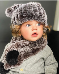 Petit Maison Kids Fuzzy Brown hat & scarf set pre order - Rose & Albert