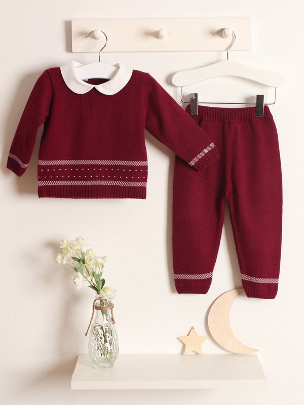 Exclusive to R&A - Granlei Peter Pan Collar Knitted Suit - Maroon