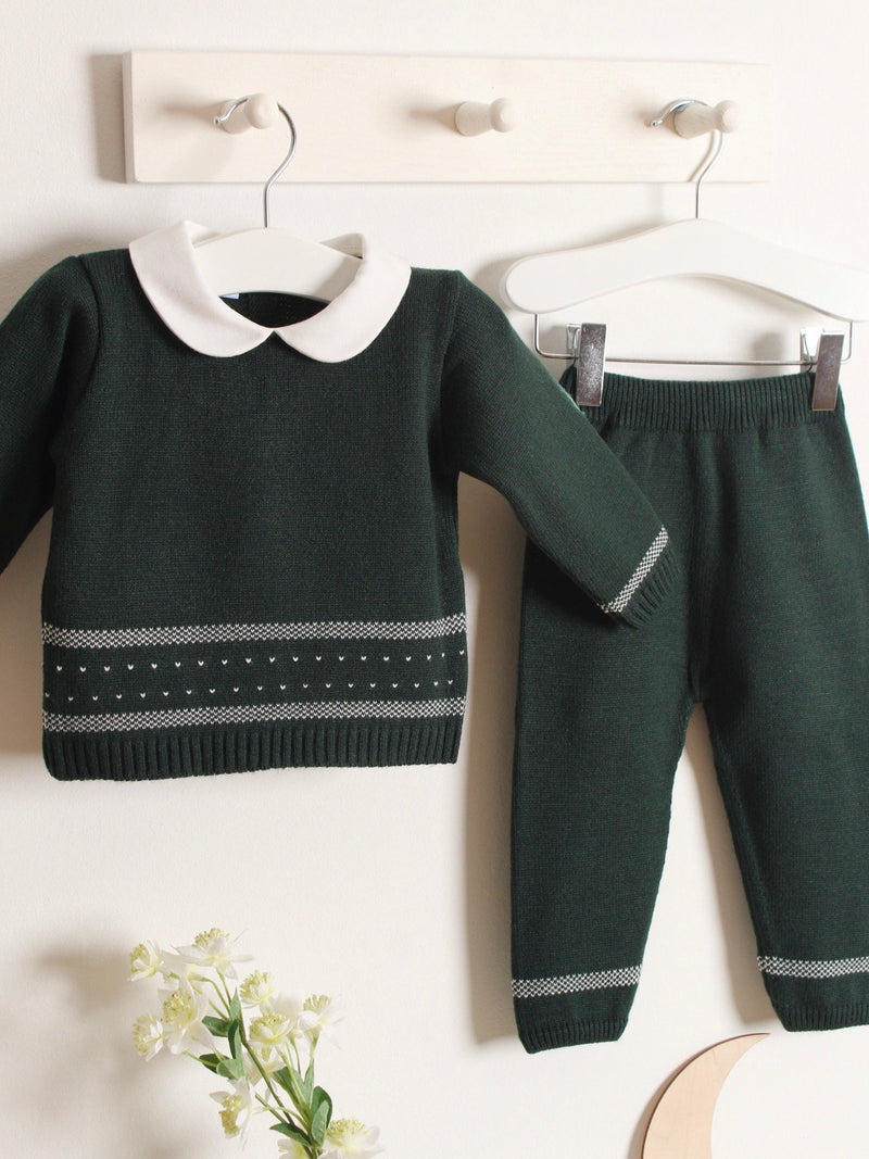 Exclusive to R&A - Granlei Peter Pan Collar Knitted Suit - Bottle Green