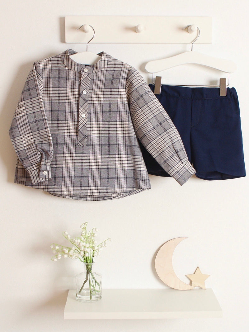 Paloma De La O Checked Grandad Shirt & Tailored Shorts
