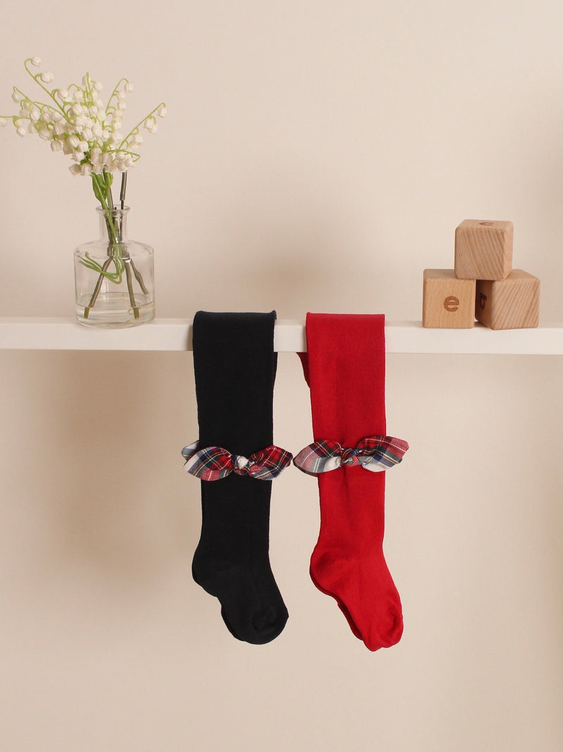 Meia Pata tartan bow tights - Rose & Albert