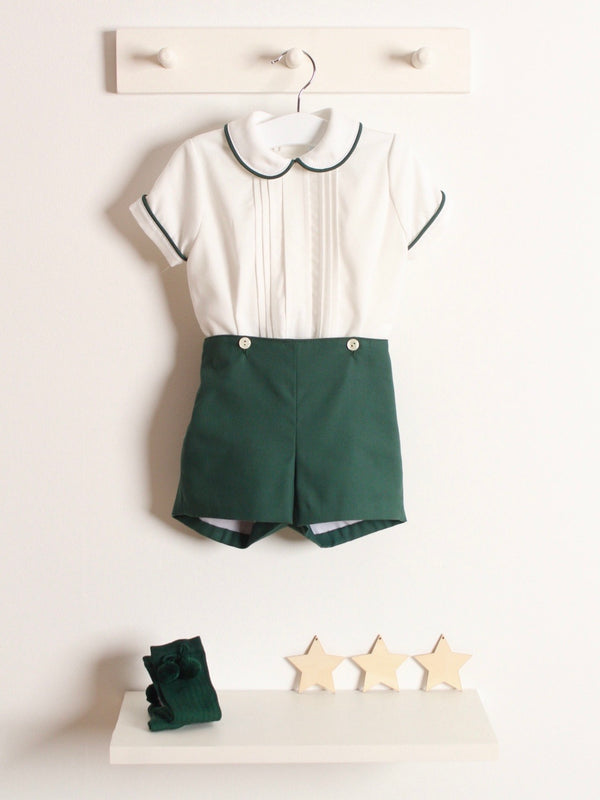 Rose and Albert handmade boys green short set