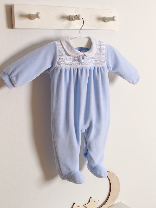 Babidu peter pan collar velour sleepsuit - Rose & Albert
