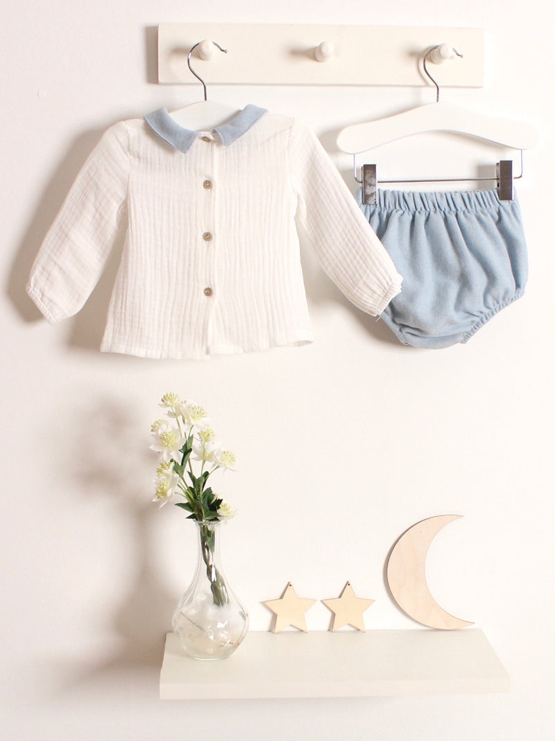 Babidu peter pan collar wool jam pant set - Rose & Albert