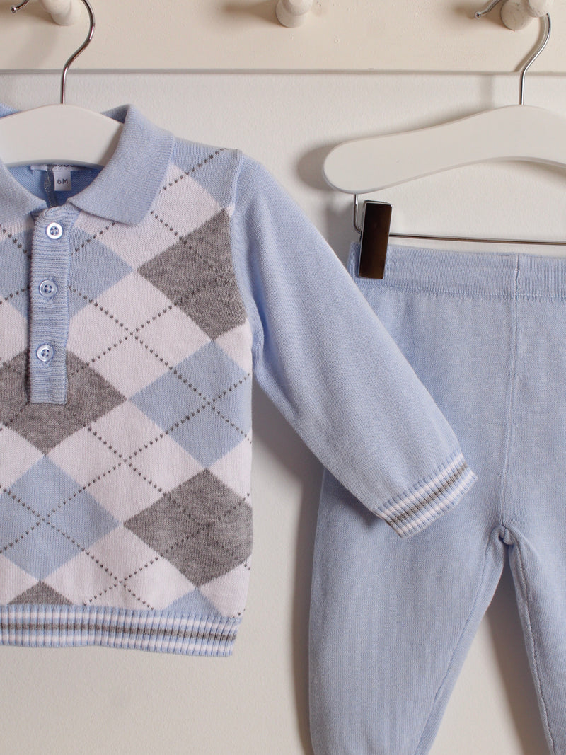 Blues Baby Argyle polo knitted set - BLUE - Rose & Albert