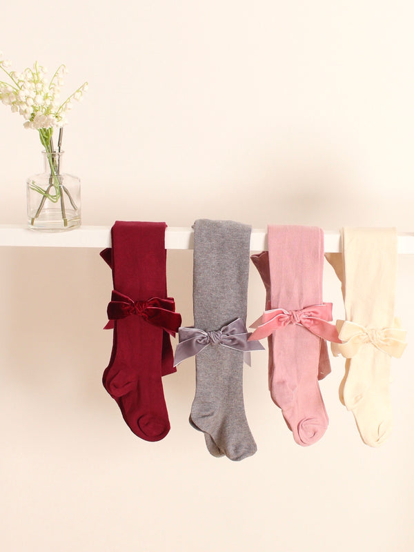 Meia Pata velvet bow tights - Rose & Albert