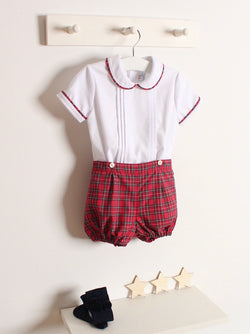 Rose and Albert handmade boys tartan jam pant set pre order