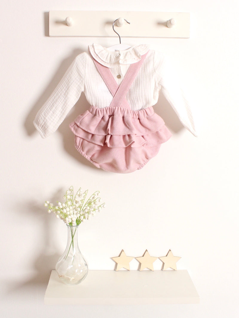 Babidu wool ruffle bloomers & smocked blouse - Rose & Albert