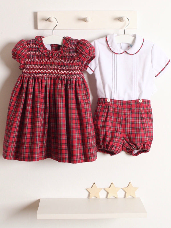 Rose and Albert handmade boys tartan short set