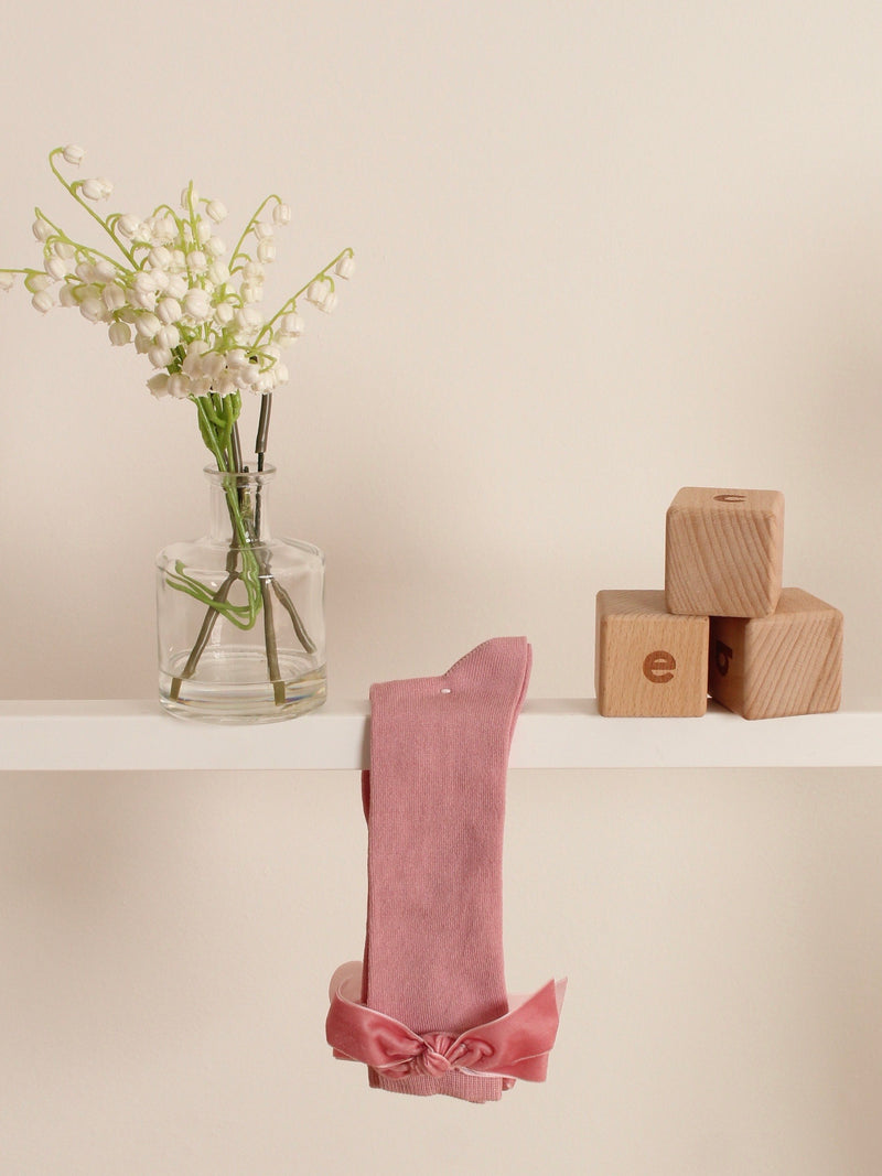 Meia Pata velvet bow knee socks - Rose & Albert