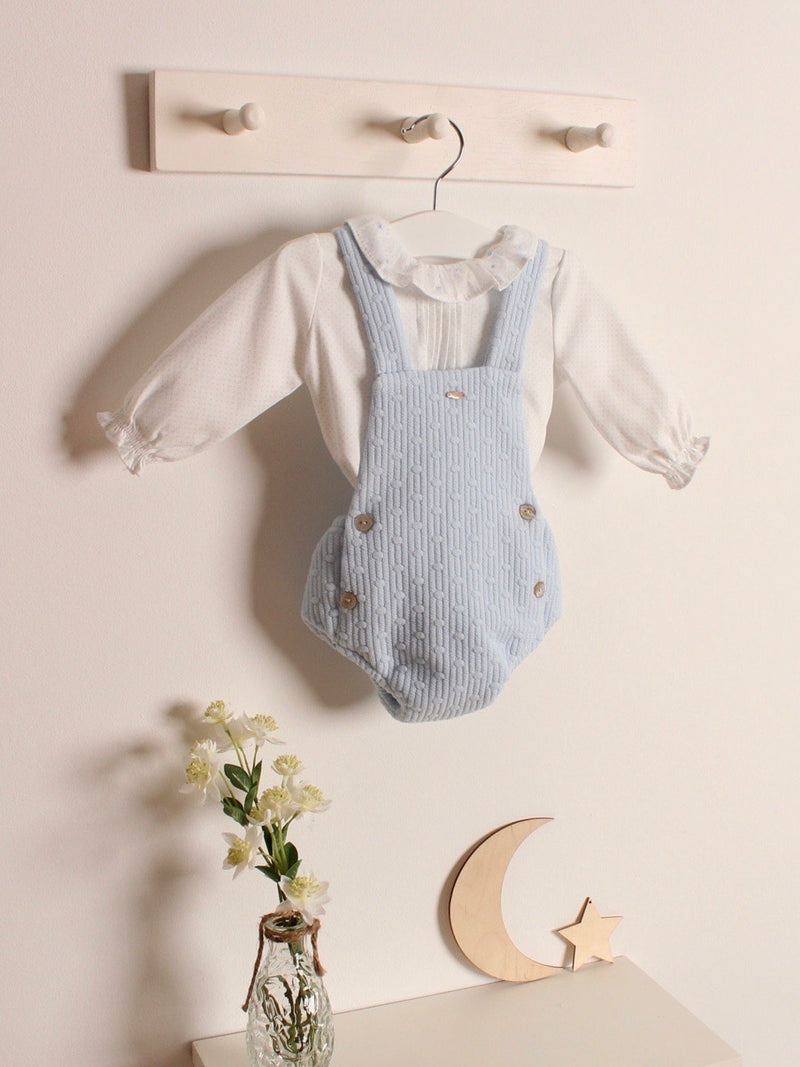 Yoedu textured dungaree & blouse set