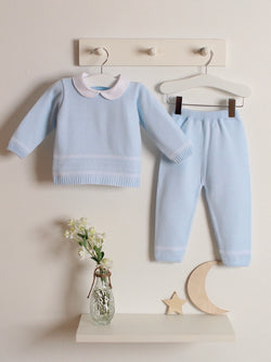 Exclusive to R&A - Granlei Peter Pan Collar Knitted Suit - Baby Blue