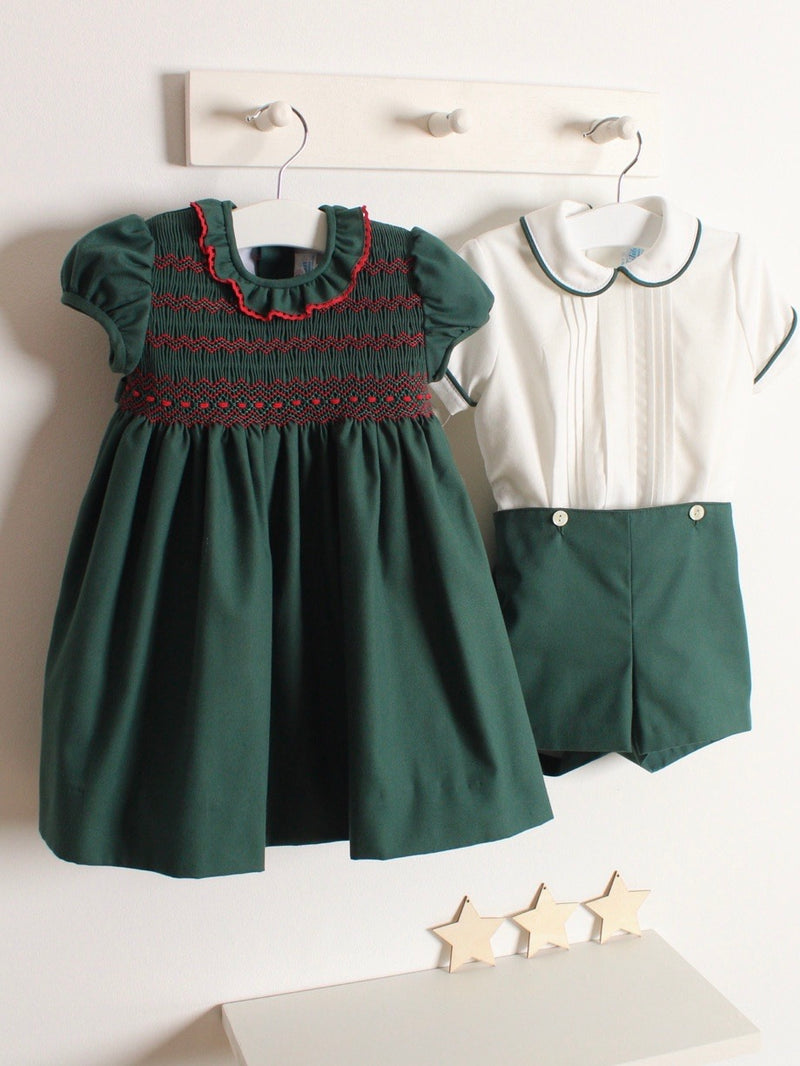 Rose and Albert handmade boys green short set pre order