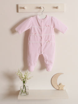 Blues Baby velour pretty sleepsuit - Rose & Albert