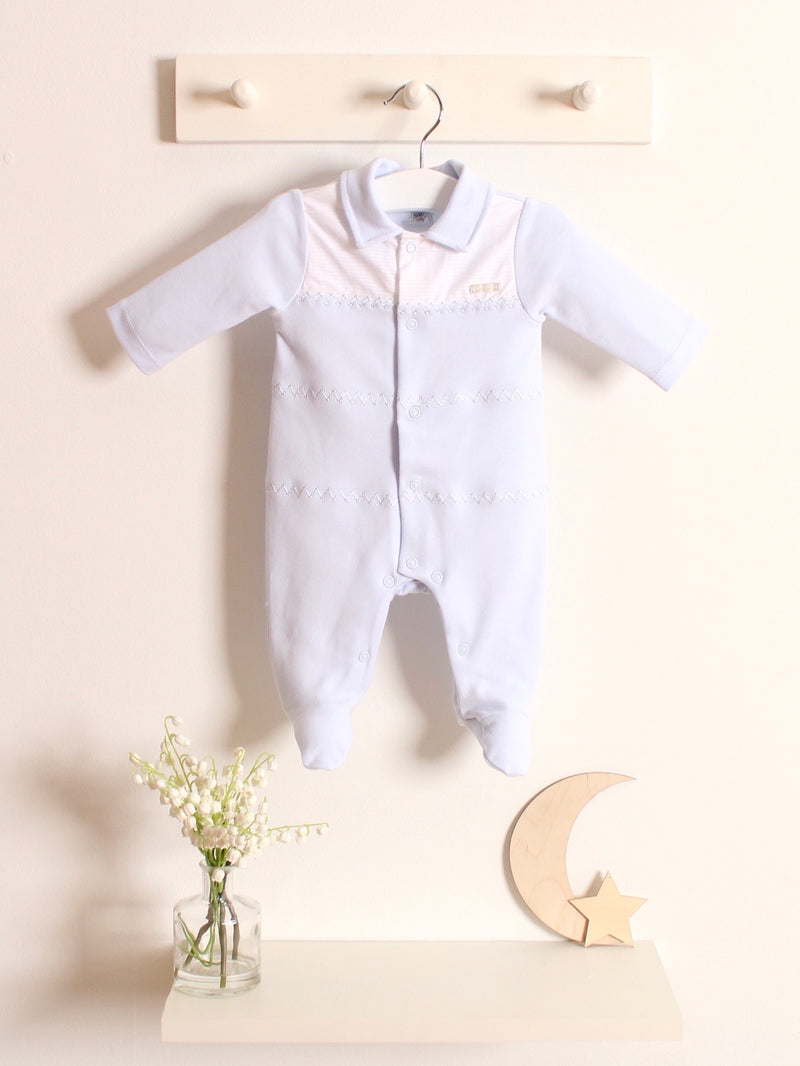 Blues Baby peter pan collar cotton sleepsuit - Rose & Albert