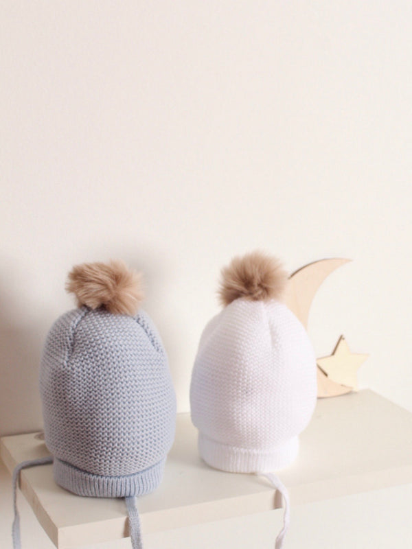 Mebi fur pom hat - blue/ grey