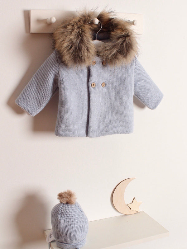 Mebi fur knitted cardigan - blue/ grey
