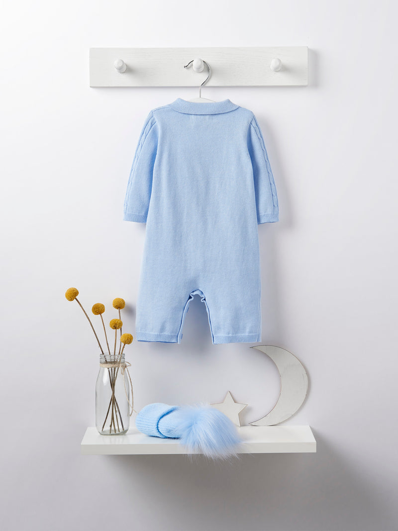 blues baby cable knit romper - Rose & Albert