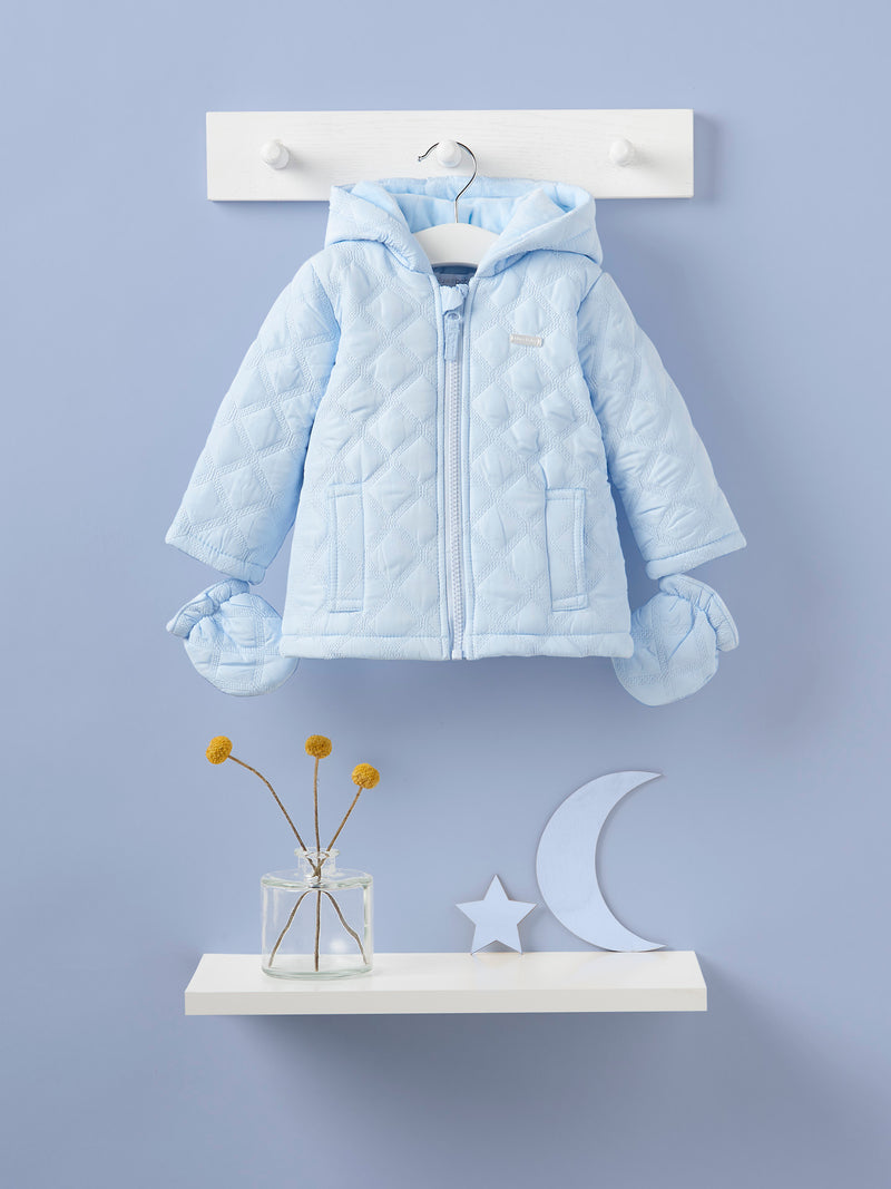 Blues baby diamond quilted hooded coat - Rose & Albert