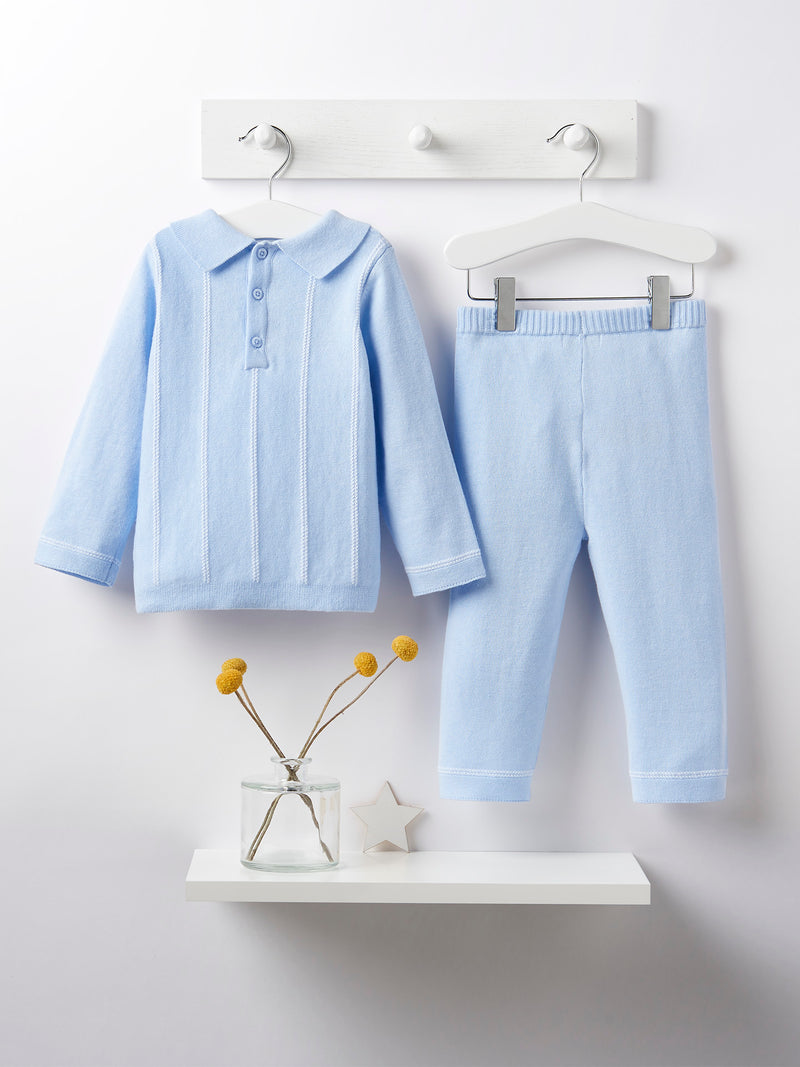 Blues baby knitted 2 piece set - Rose & Albert