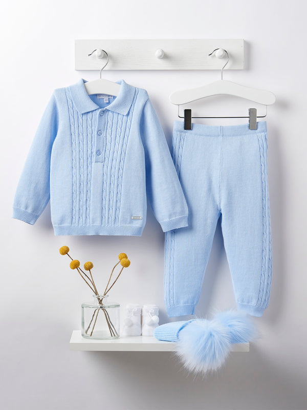 Blues baby cable knit 2 piece set - Rose & Albert